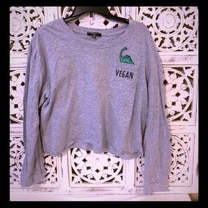 Dino-Vegan Long Sleeve Crop Top 🦖🦖